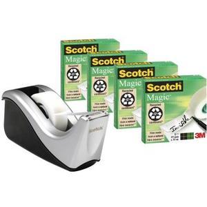 Scotch Silver Teck Dispenser C60-ST + 4 Scotch Magic Rollen