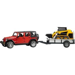 Jeep mit Anhänger und CAT Kompaktlader