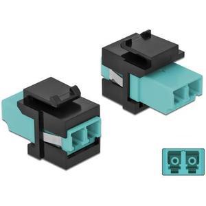 Keystone Modul LC Multimode OM4 Buchse-Buchse, Duplex, Aqua/Schwarz