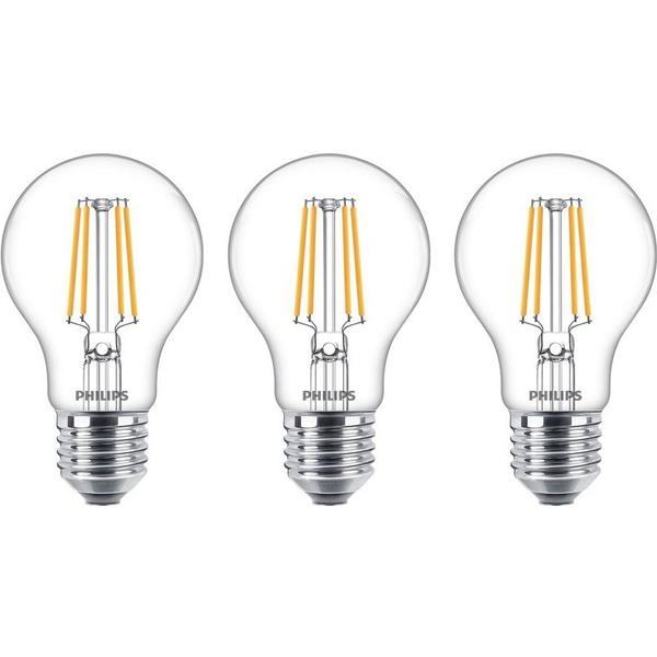 LED, Filament, 7W, E27, A60, klar, 3-Pack