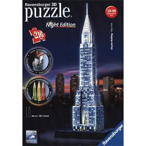 Night Edition: Chrysler Building bei Nacht - 3D Gebäude Puzzle [216 Teile]
