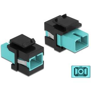 Keystone Modul SC Multimode OM3 Buchse-Buchse, Simplex, Aqua/Schwarz