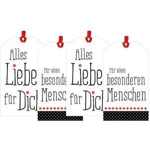 B+C Anhänger-Set 4 Stück mit Band Liebe, 5 x 8,7 cm