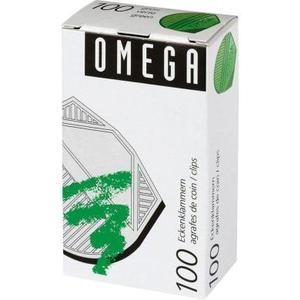 Omega Eckenklammern 100 Stück, grün metallic