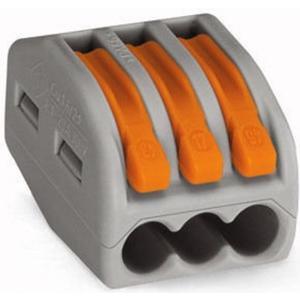 Wago Verbindungsklemme Contact 3-fach 3L 0.08-4mm2 32A, grau, 50 Stück