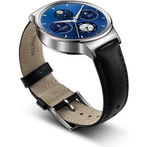 Watch W1 Stainless Steel + Black Leather Strap