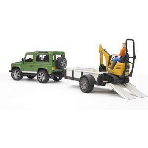 Land Rover Defender mit Anhänger, CAT und Mann