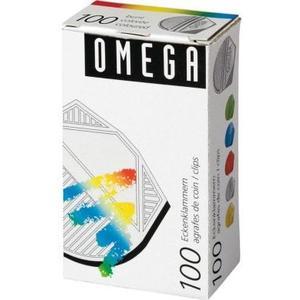 Omega Eckenklammern 100 Stück, assortiert metallic