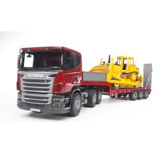Scania R-Serie LKW mit Tieflader und Cat Bulldozer
