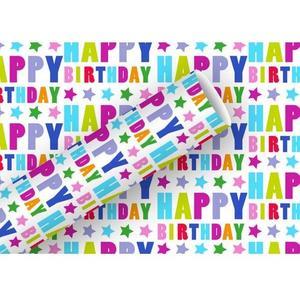 B+C Geschenkpapier 83g/m2, 70cm x 1.5 m Happy Birthday Sterne