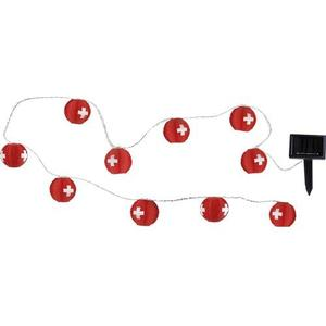 Solar Lichterkette Schweiz Rot/Weiss, 10x LED warmweiss, IP44