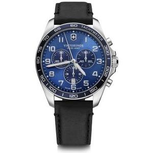 Fieldforce Classic Chrono Ø42, blue D, blue B, black leather str