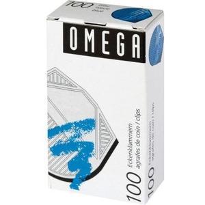 Omega Eckenklammern 100 Stück, blau metallic