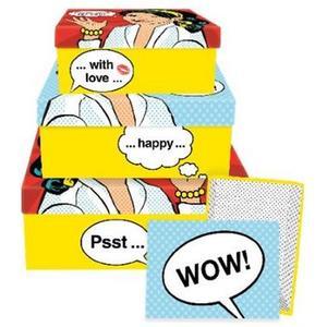 B+C Geschenkbox mit Deckel 4er Satz Pop Art Lady
