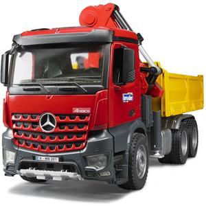 MB Arocs Baustellen-LKW mit Kran, Schaufelgreifer, Palettengabeln und 2 Paletten