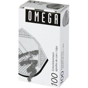 Omega Eckenklammern 100 Stück, silber metallic