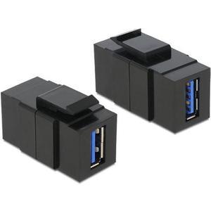 Keystone Jack: USB3.0 Buchse-Buchse, schwarz