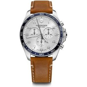 Fieldforce Classic Chrono Ø42, silver white D, brown lea St