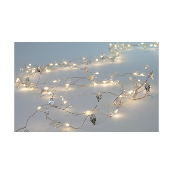 Lichterkette Silver Leaves 2m, 80 LED Netzbetrieb, Anschlusskabel: 5m,
