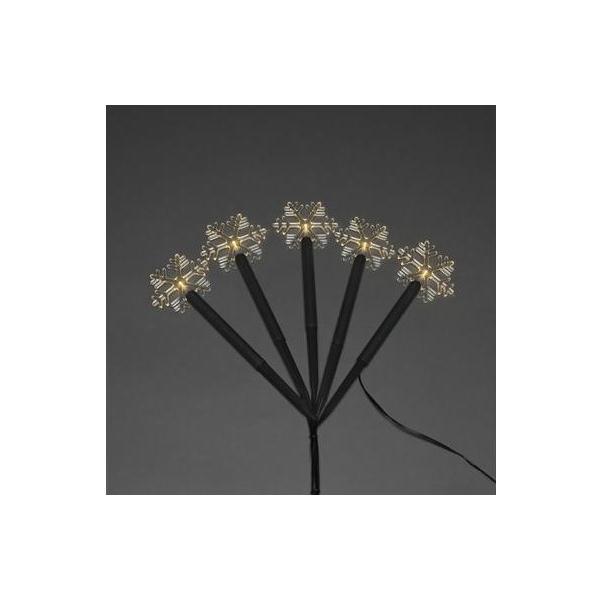LED Figur Schneeflocke 5er Set Outdoor, 5 LED, H24cm, Kabel: 10m, Schwarz