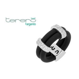 Feichtinger - Ring 925/-Silber, Kautschuk schwarz, Zirkonia