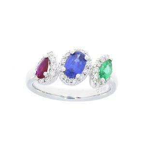 Feichtinger - Ring 585/-Weissgold, 0,258ct. Brillant, Rubin, Smaragd, Saphir