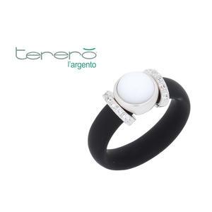 Feichtinger - Ring 925/-Silber rhodiniert, Kautschuk schwarz, Zirkonia, nsynthetischer weißer Stein