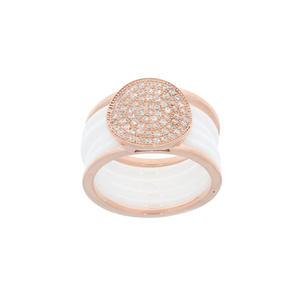 Feichtinger - Ring 925/-Silber rosè, Zirkonia, Ceramic nbreite 12 mm