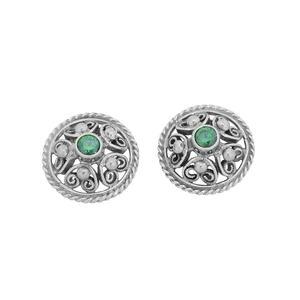 Feichtinger - Ohrschmuck Trachtenohrstecker mit grünem Zirkonia, 925/- Silber