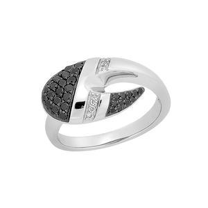 Feichtinger - Ring Ring, 585/-Weissgold, 0,04ct. w/si + 0,345ct. schwarze Diamanten