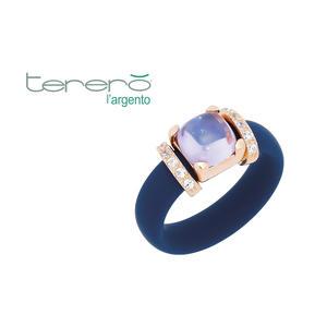 Feichtinger - Ring 925/-Silber rose, blauer Kautschuk, synthetische Steine weiß und blau