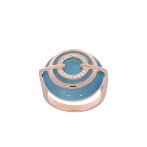 Feichtinger - Ring 925/-Silber rosè, Zirkonia, synthetischer Stein hellblau nDurchmesser 21 mm