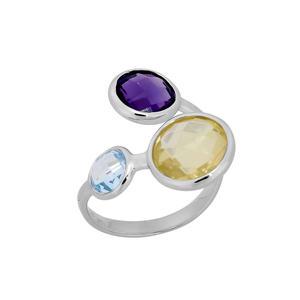 Feichtinger - Ring 925/-Silber rhodiniert, blauer Topas, Lemon Quarz, Amethyst