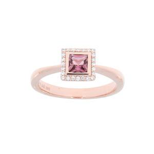 Feichtinger - Ring 585/-Rotgold, 0,18 ct.Brillant, Turmalin pink nOberteil 7,5 x 7,5 mm