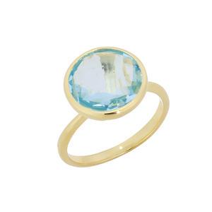Feichtinger - Ring 925/-Silber vergoldet, blauer Topas