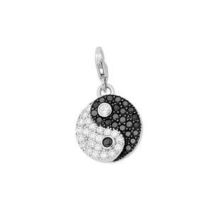 Feichtinger - Anhänger Sterling Silber 925/-, rhodiniert, schwarze und weiße Zirkonia, mit Karabiner