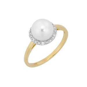 Feichtinger - Perlring 585/-Bicolor, synthetische Perle, Zirkonia