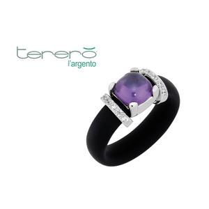 Feichtinger - Ring 925/-Silber rhodiniert, schwarzer Kautschuk, synthetische Steine weiß und lila