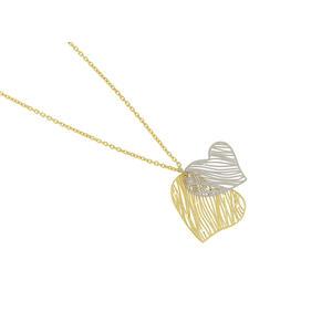 Feichtinger - Collier Herzen, 585/- Gelbgold und Weißgold