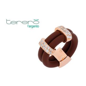 Feichtinger - Ring 925/-Silber rose, Kautschuk braun, Zirkonia