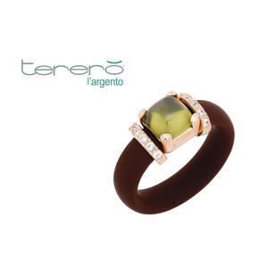 Feichtinger - Ring 925/-Silber rose, brauner Kautschuk, synthetische Steine weiß und grün