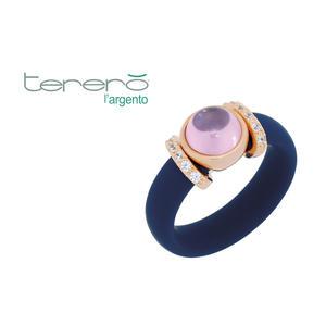 Feichtinger - Ring 925/-Silber rose, blauer kautschuk, synthetische Steine weiß und rosa