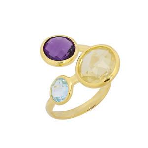 Feichtinger - Ring 925/-Silber vergoldet, blauer Topas, Lemon Quarz, Amethyst
