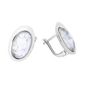 Feichtinger - Ohrclips 925/-Silber, rhodiniert, Glasstein weiss