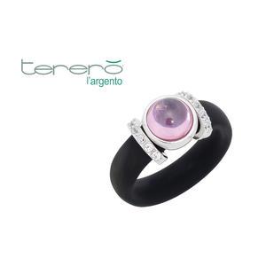 Feichtinger - Ring 925/-Silber rhodiniert, schwarzer Kautschuk, synthetische Steine weiß und rosa