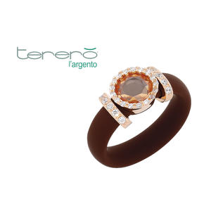Feichtinger - Ring 925/-Silber rose, brauner Kautschuk, synthetische Steine weiß und gelb