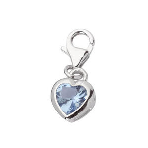 Feichtinger - Anhänger Herz mit hellblauem Zirkonia, Silber 925, Karabiner