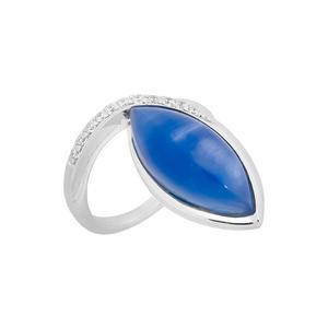 Feichtinger - Ring 925/-Silber rhodiniert, Zirkonia, blauer Stein