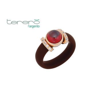 Feichtinger - Ring 925/-Silber rose, brauner Kautschuk, synthetische Steine weiß und rot
