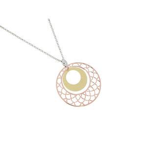 Feichtinger - Collier 925/- Silber rhodiniert, vergoldet, rosè vergoldet